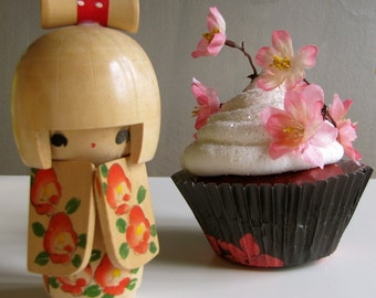 Fake Cupcake Pink Cherry Blossom Asian Inspired Red Velvet King Size Cupcake Can Be Entree/Photo/Business Card Holder