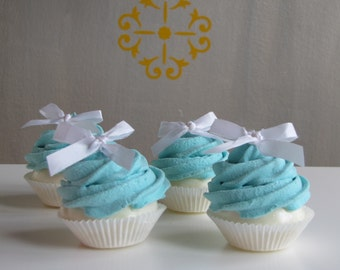 Fake Cupcake Turquoise Mini Cupcakes Set 4 Fab Wedding Shower, Party Centerpiece Idea Can be Ornaments Original 12 Legs Concept