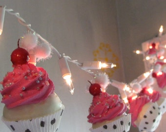 Fake Cupcake Hot Pink Rockabilly String of Lights 12 Legs Original Concept Design 10 Mini Hot Pink Fake Cupcakes Bakery Decor First on Etsy