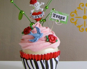Fake Cupcake Rockabilly Skull/Crossbones Tattoo Insp All Tatted Up Cupcake Can Be Customized w/Names or Photo or Business Card Holder