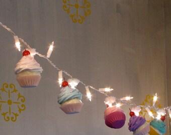"Fake Cupcake ""Cupcake Lovers"" String Lights 10 Mini Asst. Cupcakes 12 Legs Original Design & Concept First on Etsy"