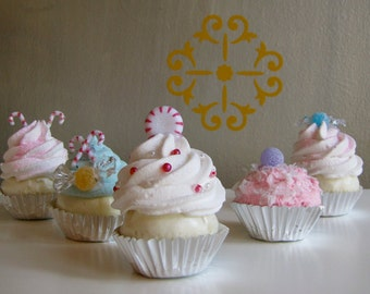 Fake Mini Cupcake Christmas Ornaments Sugar Plum Fairy Candy Cane and Peppermint Collection Set of 5