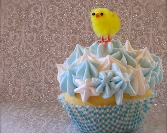 """Fake Cupcake """"My Little Chick-a-dee Collection"""" 1 Standard Size Blue/White Cupcake Yellow Baby Chick Can be Photo/Business Card Holder"""