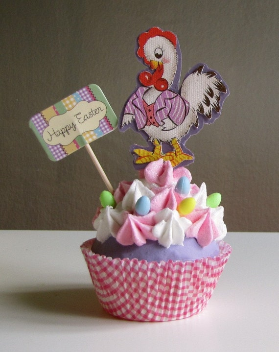 Fake Cupcake Easter Rooster Cupcake Collectable with Vintage Image of Rooster and miniature Easter eggs Original 12 Legs Design