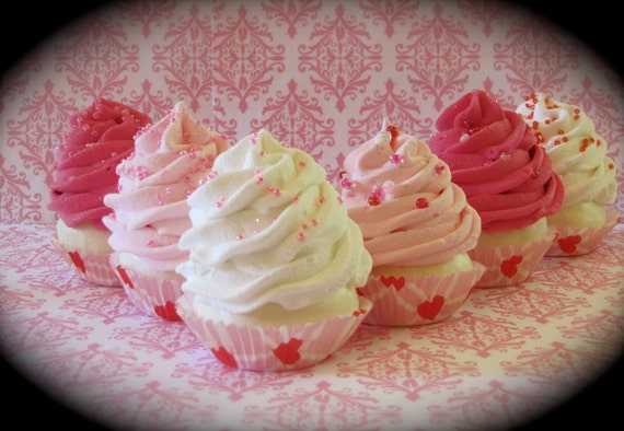"Fake Cupcakes ""Hearts & Cupcakes Gift Set"" Light Pink, Hot Pink, White Mini Cupcakes With Gift Box Set 6 Can Be Ornaments, Fab Photo Props"