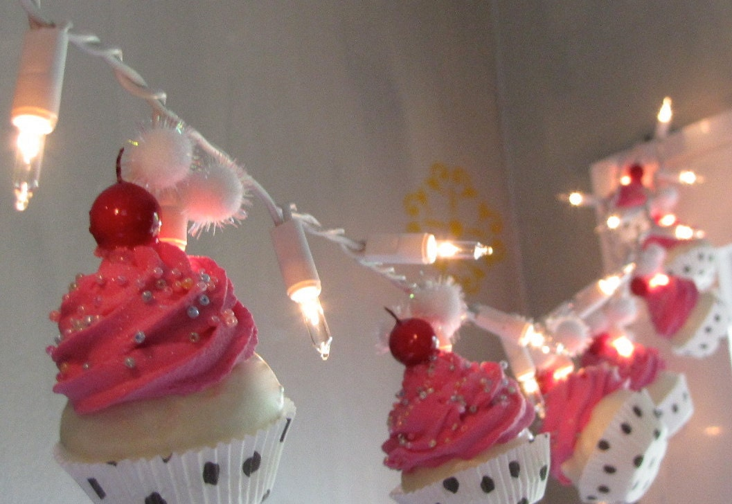 Fake Cupcake Hot Pink Rockabilly String of Lights 12 Legs Original Concept  Design 10 Mini Hot Pink Fake Cupcakes Bakery Decor First on Etsy. Rockabilly decor   Etsy