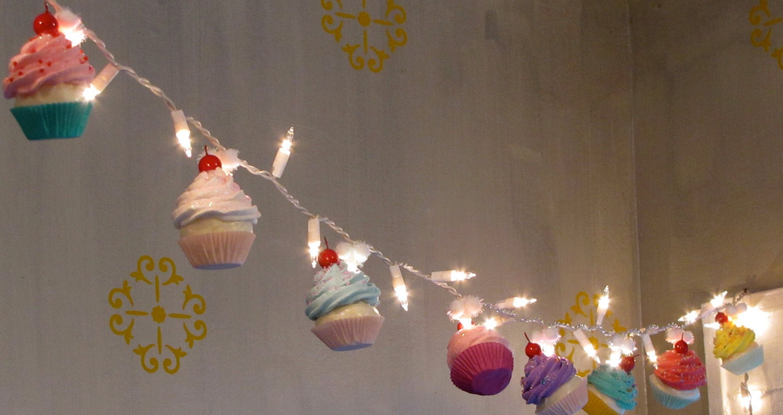 Cupcake Kitchen Decorations Fake Cupcake Cupcake Lovers String Of Lights 12 Legs Original