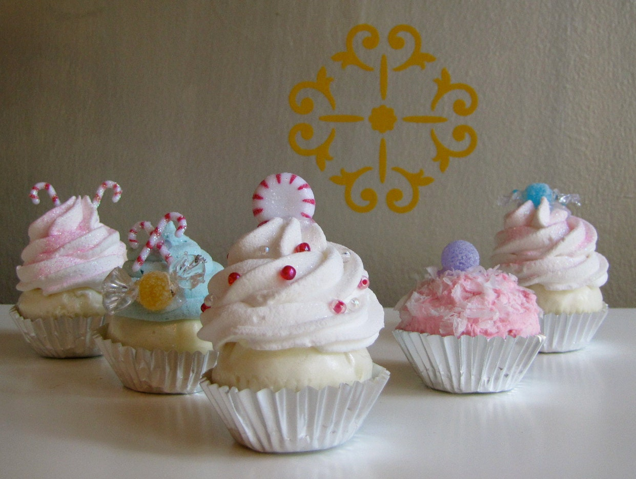 Fake Mini Cupcake Christmas Ornaments Sugar Plum Fairy Candy
