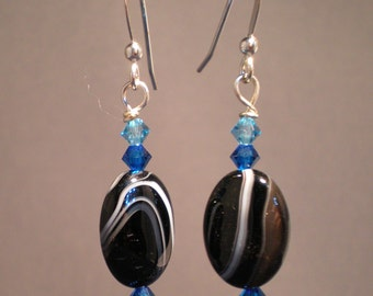 Black Agate Oval Earrings