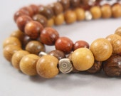 NEW Sienna, Brown and Yellow Wood Bead Bracelet with Silver