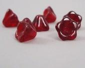 Garnet Red Czech Pressed Glass Flower Beads 25 beads