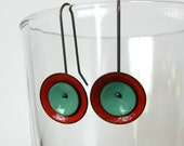 red and turquoise mod earrings