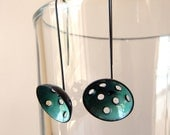 enameled turquoise perforated domed earrings
