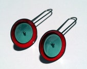 Reserved Listing: red and turquoise s. silver mod earrings
