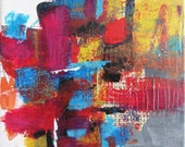 """Small 8x8 original abstract urban style contemporary art """"Games We Play 2"""""""