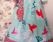 Custom Made Pillowcase Dress-0-8 years old-Patty Young for Michael Miller Flora Fauna Hummingbirds Fabric