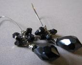 India Ink- swarovski crystal earrings