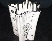Black and White Organic Nebula Flower Vase With Dandelions and Swirls, Desk Organizer , Pencil Holder or Utensil Crock