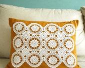 Handmade Linen and Doily Pillow