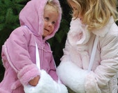 Little Girls Fur Hand Muff - White or Black Faux Rabbit Fur with Satin Ribbon and Lining - TODDLER or SCHOOL GIRL size