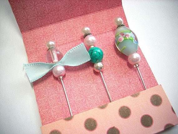 Stick Pins Glass Beads Decorated Hat Pins Scrapbooking Shabby Chic