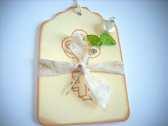 Heart Stick Pin Gift Tag