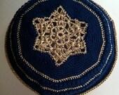 Hand-Crocheted Men's Kippah 101 Navy and Gold