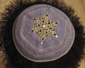 Hand-Crocheted Kippah 102 Periwinkle and Silver
