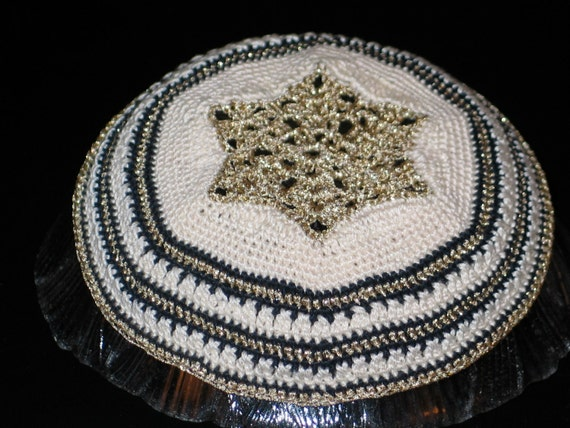Crochet Patterns For Yarmulke : Gold cream & black Kippah CROCHET PATTERN ONLY