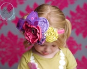BEYOND the PLAYGROUND floral hairpiece for photo props, special occasions, weddings, portraits. purple and fall tones