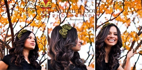 LOLA- silk rosette hairpiece in beautiful olive- perfect for fall and autum hair art