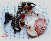 Old Lace necklace with porcelain and jade  ooak