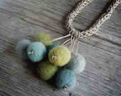 Ocean Vintage Linen and Merino Wool Felt Necklace