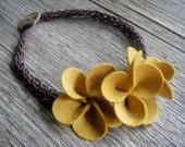 Ophelia Merino Wool Felt and Hemp Flower Necklace