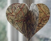 Vintage Road Atlas Mobile - 3D Mobile - Heart Mobile - Vintage Map - Wedding Decor - Paper Decoration - Party Decoration  - Wedding - Mobile