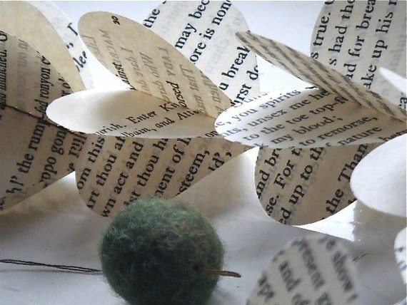 Shakespeare -Victorian Poetry  or Vintage Dictionary Heart Strings Paper Mobile