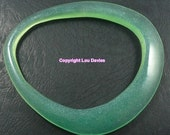 LIME green Resin Bracelelet or Bangle, Assymetric flat design for small wrists or kids jewellery