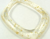 Gold Leaf Rectangular Assymetric Flat Resin handmade clear chunky bracelet