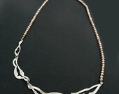 Peach Freshwater Pearl Long Sterling Silver Lace Necklace. 22.5 inch. Handpierced and textured.