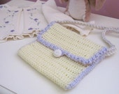 Girls Purse - Pale Yellow and Lavendar Shoulder Strap