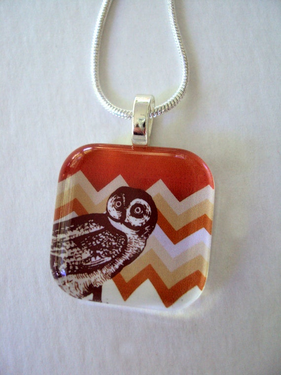 Chevron Owl Pendant with  Silver Link Chain - Tri color Orange