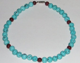 Vintage Glass Beaded Necklace - Turquoise Blue and Brown Speckled Glass Beads - Choker Necklace -
