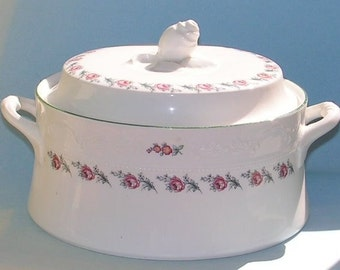 Vintage Casserole Dish - Soup Tureen - Cottage Chic Shabby Pink Roses - Fine China - La Rochelle