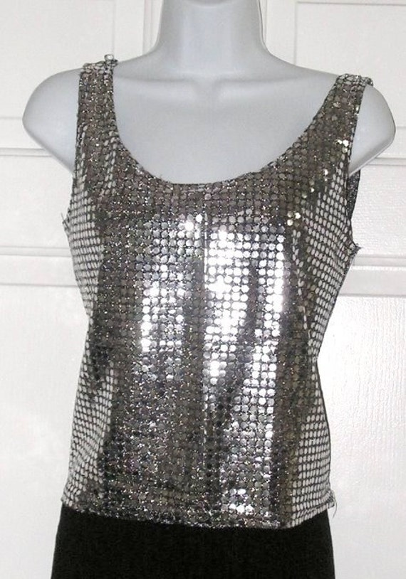 Vintage Tank Top Sequins Metallic Silver and Black Shimmer