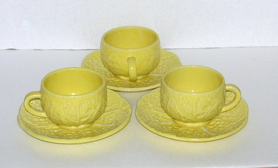 Vintage Secla Portugal Yellow Cabbage Pottery Cups Saucers Sets