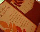 Fern Leaves Autumn Pocketfold Wedding Invitation - Deposit to get started