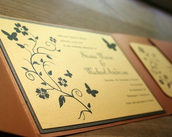 Wedding Invitation Butterflies and Flowers Pocketfold  - Get Started Deposit