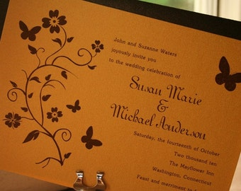 Floral Vine Butterfly Wedding Invitation - Deposit to get started