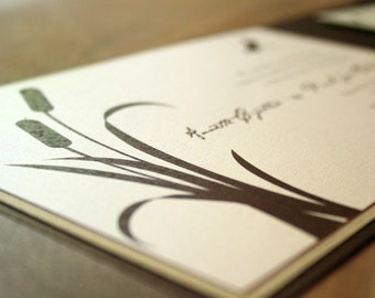 Cattail and Dragonfly Pocketfold Wedding Invitation - Deposit to get started