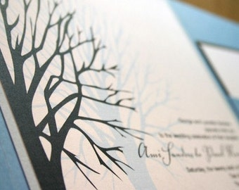 Wedding Invitation Winter Tree Pocketfold  - Deposit to get started